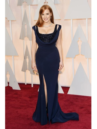 ZY040-Jessica-Chastain-Navy-Blue-Oscar-Dress-2017-Square-Neck-Tank-Kick-Pleat-Long-Satin-Celebrity